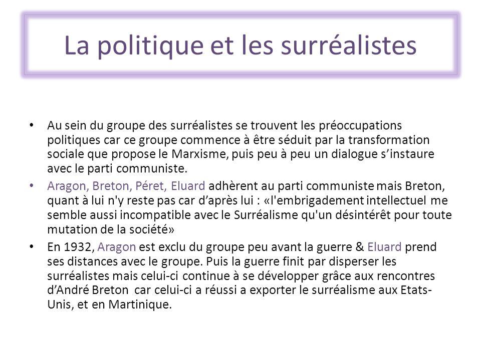 La politique et les surréalistes Au sein du groupe des surréalistes se trouvent les préoccupations politiques car ce groupe commence à être séduit par