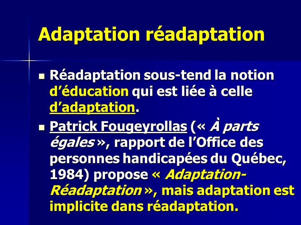 Adaptation réadaptation Réadaptation sous-tend la notion déducation qui est liée à celle dadaptation.