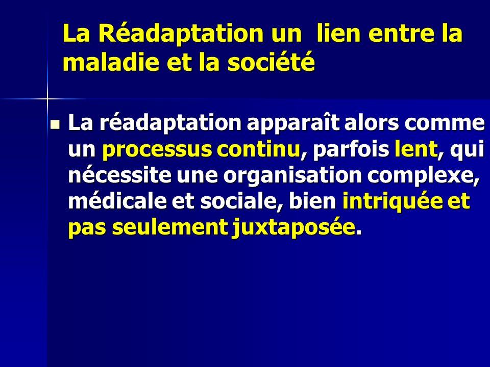 La Réadaptation un lien entre la maladie et la société La réadaptation apparaît alors comme un processus continu, parfois lent, qui nécessite une organisation complexe, médicale et sociale, bien intriquée et pas seulement juxtaposée.