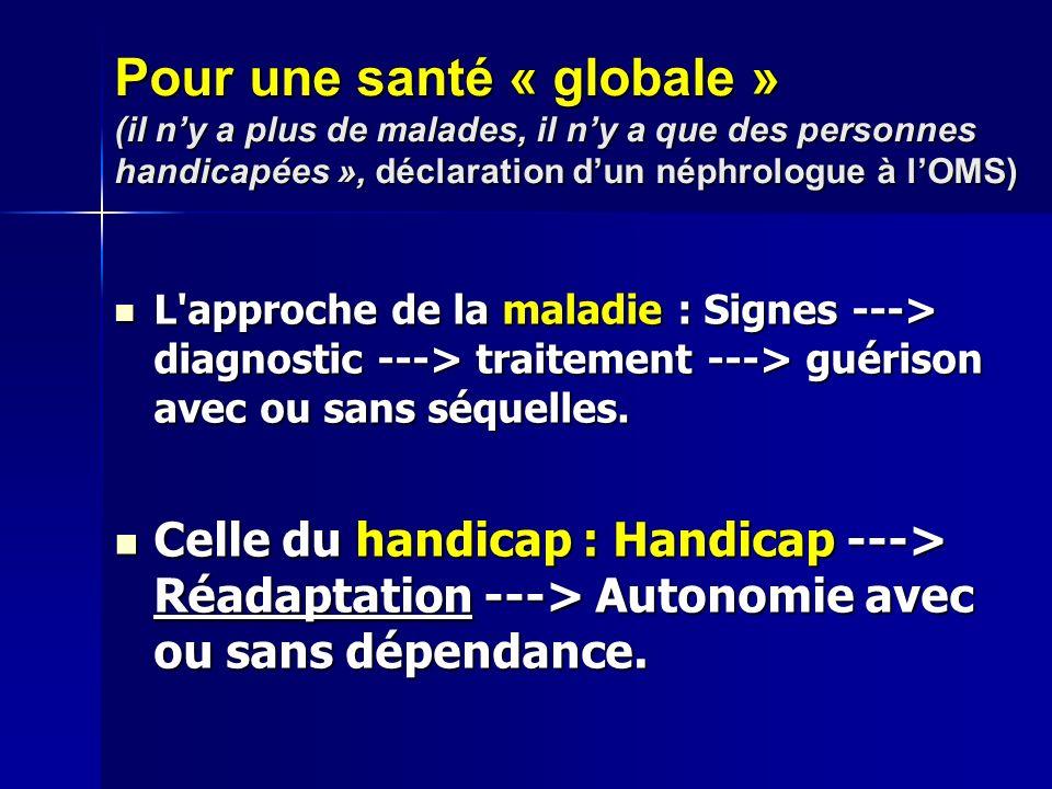 Pour une santé « globale » (il ny a plus de malades, il ny a que des personnes handicapées », déclaration dun néphrologue à lOMS) L approche de la maladie : Signes ---> diagnostic ---> traitement ---> guérison avec ou sans séquelles.