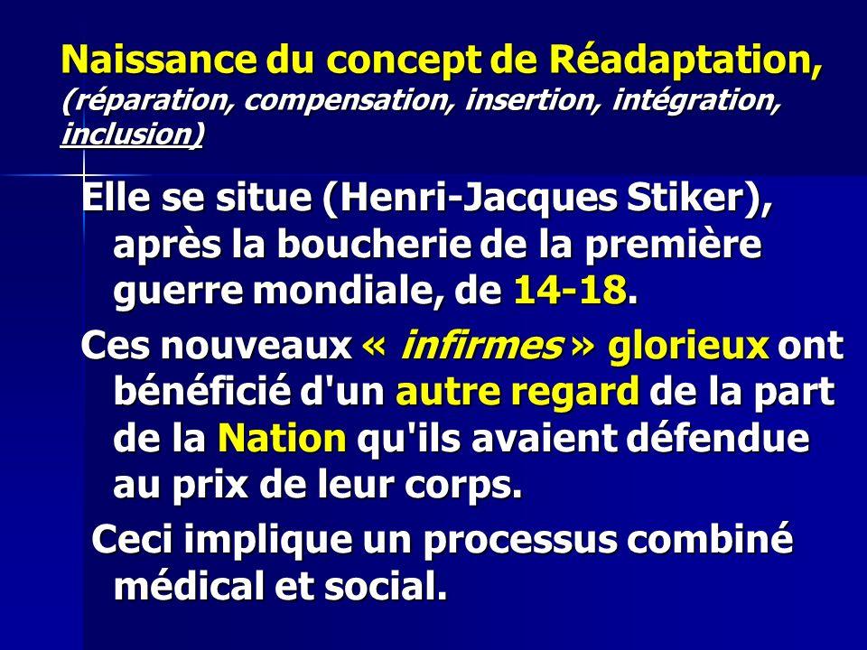 Naissance du concept de Réadaptation, (réparation, compensation, insertion, intégration, inclusion) Elle se situe (Henri-Jacques Stiker), après la boucherie de la première guerre mondiale, de 14-18.