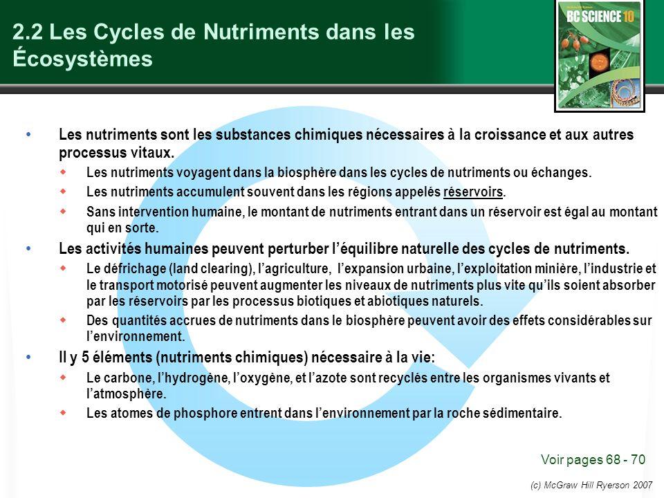 (c) McGraw Hill Ryerson 2007 2.2 Les Cycles de Nutriments dans les Écosystèmes Les nutriments sont les substances chimiques nécessaires à la croissance et aux autres processus vitaux.