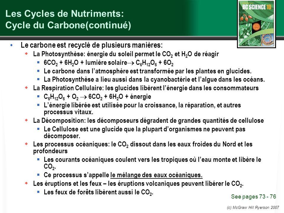 (c) McGraw Hill Ryerson 2007 Les Cycles de Nutriments: Cycle du Carbone(continué) Le carbone est recyclé de plusieurs manières: La Photosynthèse: énergie du soleil permet le CO 2 et H 2 O de réagir 6CO 2 + 6H 2 O + lumière solaire C 6 H 12 O 6 + 6O 2 Le carbone dans latmosphère est transformée par les plantes en glucides.