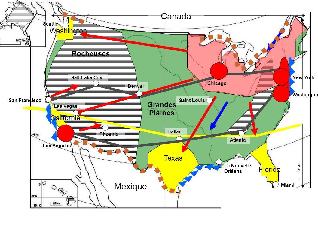 Légende I Le territoire américain : un potentiel de puissance mais aussi des contraintes Les montagnes des obstacles mais aussi des gisements stratégiques Les plaines : un potentiel agricole.