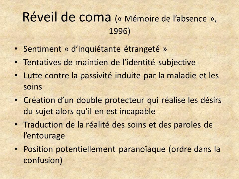 Réveil de coma (« Mémoire de labsence », 1996) Sentiment « dinquiétante étrangeté » Tentatives de maintien de lidentité subjective Lutte contre la pas
