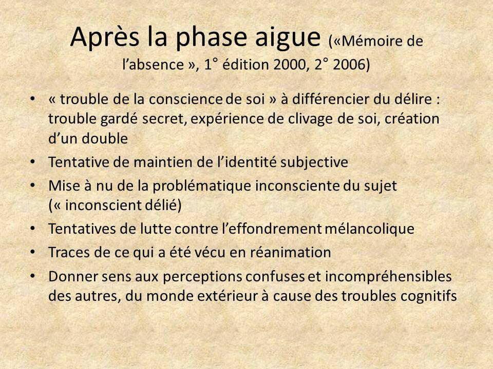 Après la phase aigue («Mémoire de labsence », 1° édition 2000, 2° 2006) « trouble de la conscience de soi » à différencier du délire : trouble gardé s