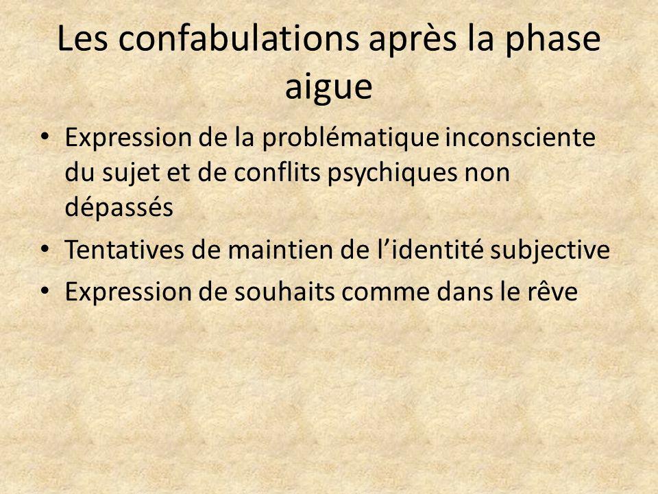 Les confabulations après la phase aigue Expression de la problématique inconsciente du sujet et de conflits psychiques non dépassés Tentatives de main