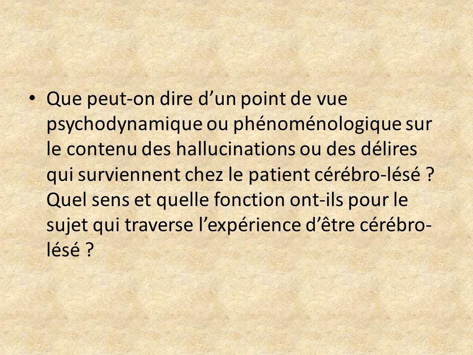 Que peut-on dire dun point de vue psychodynamique ou phénoménologique sur le contenu des hallucinations ou des délires qui surviennent chez le patient
