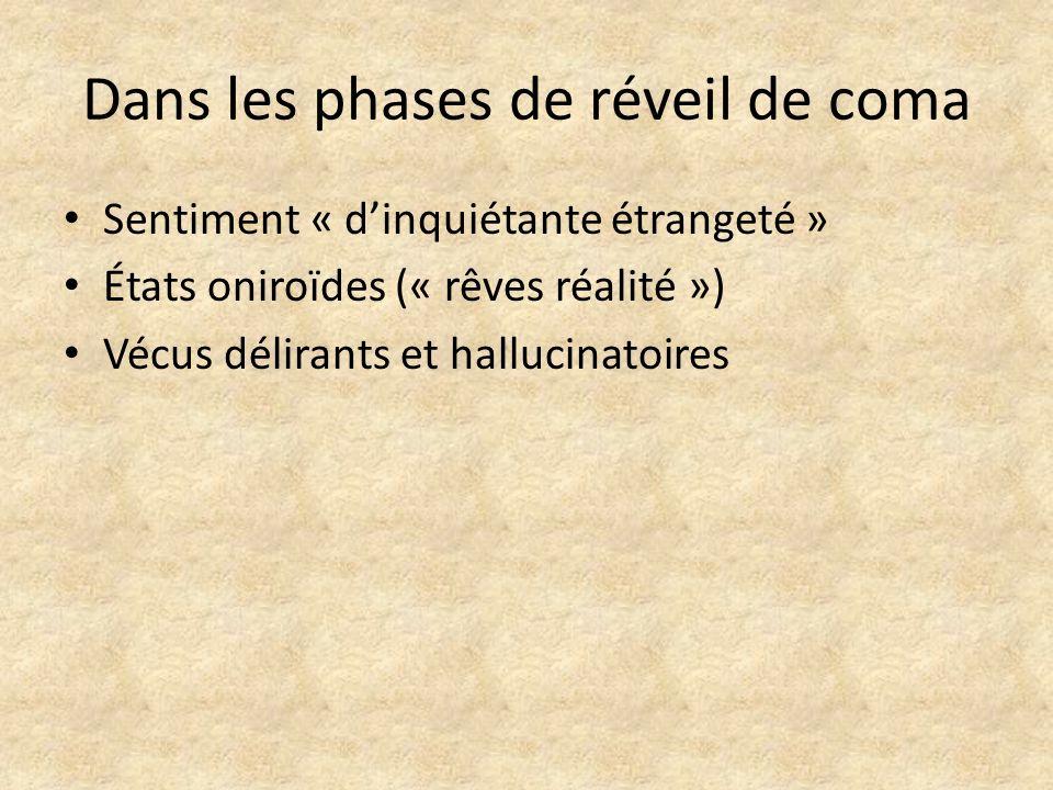 Dans les phases de réveil de coma Sentiment « dinquiétante étrangeté » États oniroïdes (« rêves réalité ») Vécus délirants et hallucinatoires
