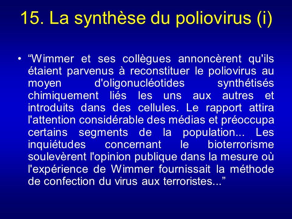 15. La synthèse du poliovirus (i) Wimmer et ses collègues annoncèrent qu'ils étaient parvenus à reconstituer le poliovirus au moyen d'oligonucléotides