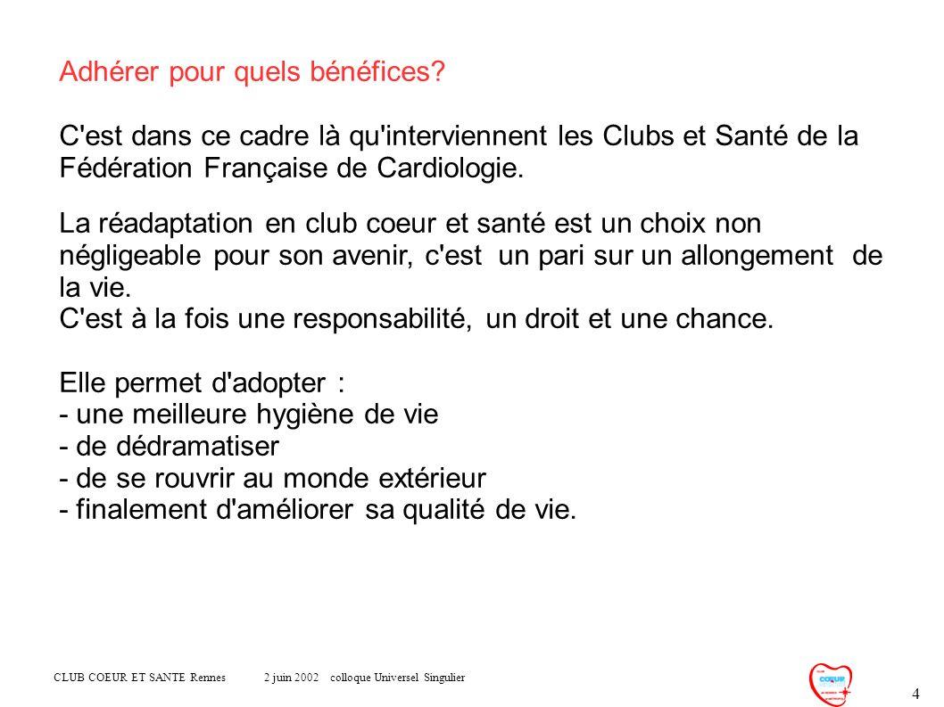 CLUB COEUR ET SANTE Rennes 2 juin 2002 colloque Universel Singulier 4 Adhérer pour quels bénéfices? C'est dans ce cadre là qu'interviennent les Clubs