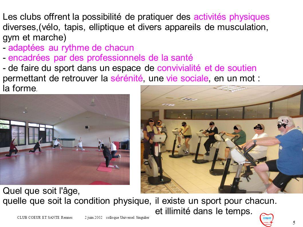 CLUB COEUR ET SANTE Rennes 2 juin 2002 colloque Universel Singulier 5 Les clubs offrent la possibilité de pratiquer des activités physiques diverses,(