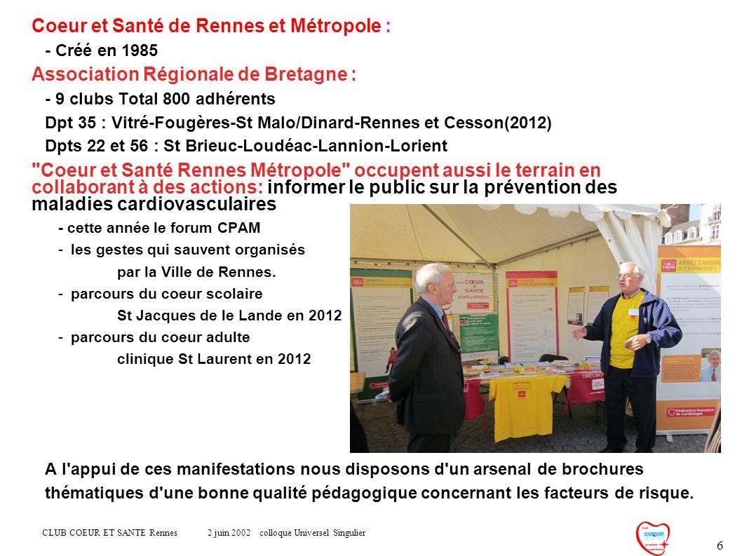 CLUB COEUR ET SANTE Rennes 2 juin 2002 colloque Universel Singulier 6 Coeur et Santé de Rennes et Métropole : - Créé en 1985 Association Régionale de