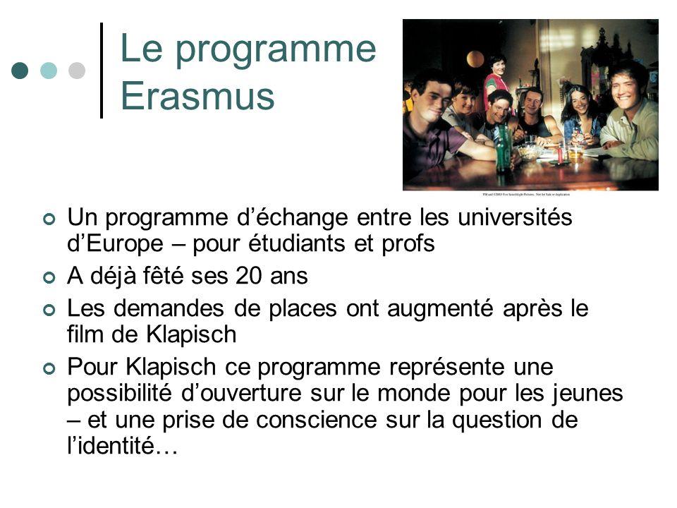 Le programme Erasmus Un programme déchange entre les universités dEurope – pour étudiants et profs A déjà fêté ses 20 ans Les demandes de places ont augmenté après le film de Klapisch Pour Klapisch ce programme représente une possibilité douverture sur le monde pour les jeunes – et une prise de conscience sur la question de lidentité…