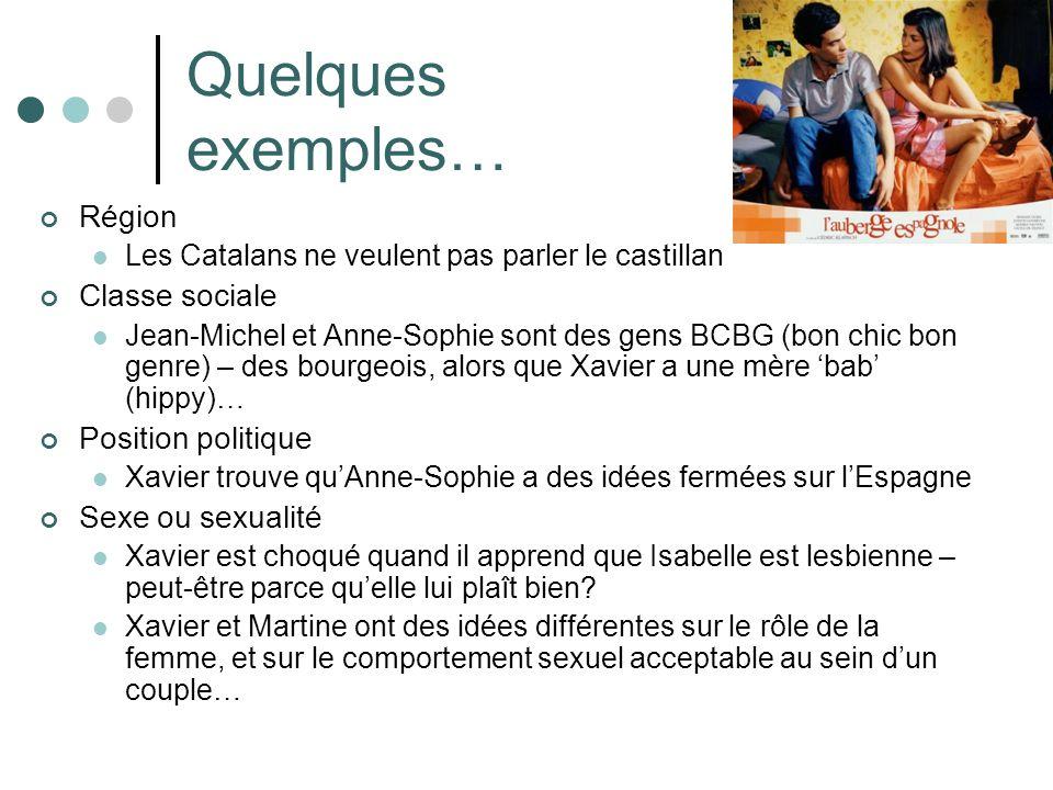 Quelques exemples… Région Les Catalans ne veulent pas parler le castillan Classe sociale Jean-Michel et Anne-Sophie sont des gens BCBG (bon chic bon genre) – des bourgeois, alors que Xavier a une mère bab (hippy)… Position politique Xavier trouve quAnne-Sophie a des idées fermées sur lEspagne Sexe ou sexualité Xavier est choqué quand il apprend que Isabelle est lesbienne – peut-être parce quelle lui plaît bien.