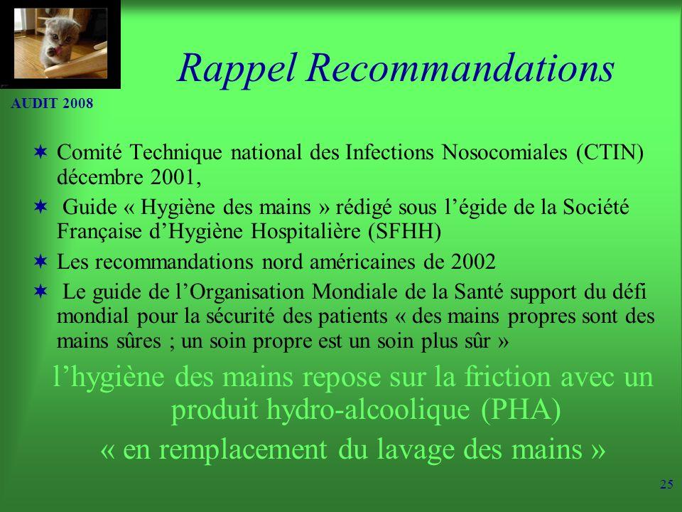 AUDIT 2008 25 Rappel Recommandations Comité Technique national des Infections Nosocomiales (CTIN) décembre 2001, Guide « Hygiène des mains » rédigé sous légide de la Société Française dHygiène Hospitalière (SFHH) Les recommandations nord américaines de 2002 Le guide de lOrganisation Mondiale de la Santé support du défi mondial pour la sécurité des patients « des mains propres sont des mains sûres ; un soin propre est un soin plus sûr » lhygiène des mains repose sur la friction avec un produit hydro-alcoolique (PHA) « en remplacement du lavage des mains »