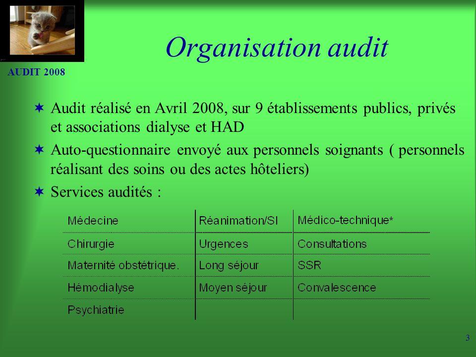 AUDIT 2008 3 Organisation audit Audit réalisé en Avril 2008, sur 9 établissements publics, privés et associations dialyse et HAD Auto-questionnaire envoyé aux personnels soignants ( personnels réalisant des soins ou des actes hôteliers) Services audités :