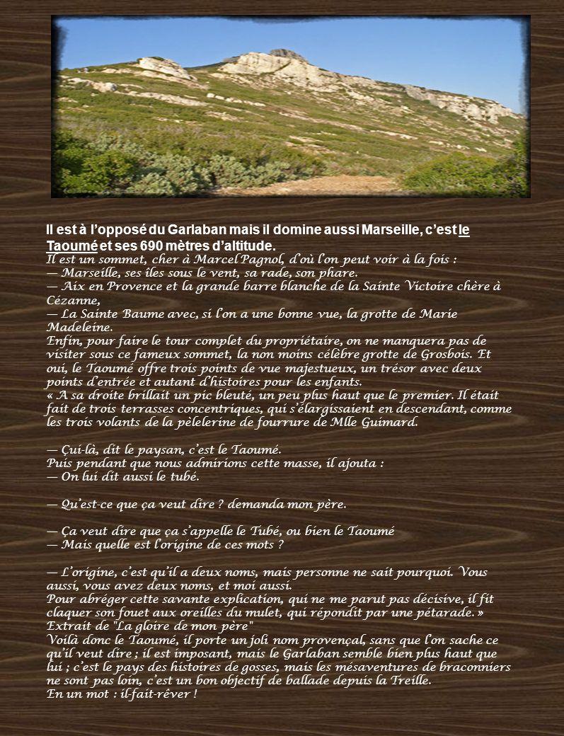Il est à lopposé du Garlaban mais il domine aussi Marseille, cest le Taoumé et ses 690 mètres daltitude. Il est un sommet, cher à Marcel Pagnol, doù l