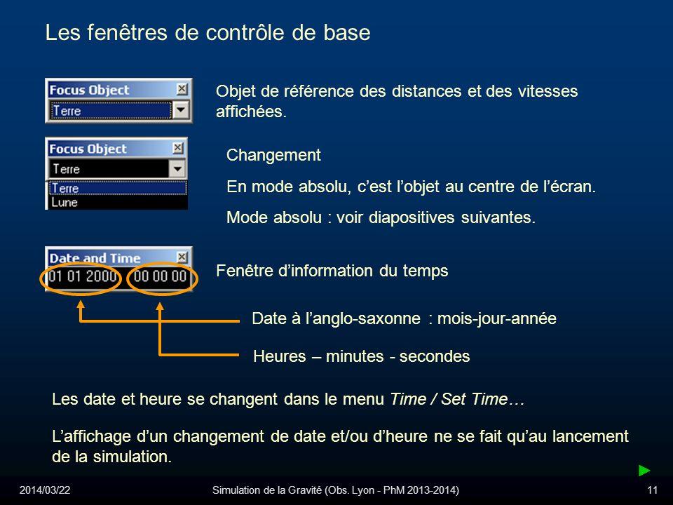 2014/03/22Simulation de la Gravité (Obs. Lyon - PhM 2013-2014)11 Les fenêtres de contrôle de base Objet de référence des distances et des vitesses aff
