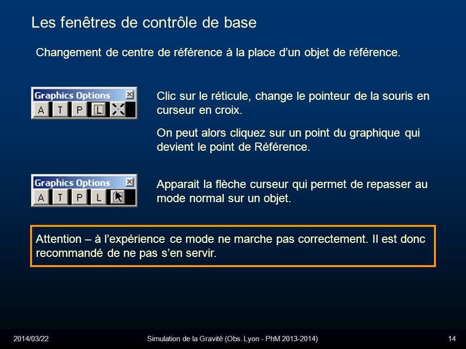 2014/03/22Simulation de la Gravité (Obs. Lyon - PhM 2013-2014)14 Les fenêtres de contrôle de base Changement de centre de référence à la place dun obj