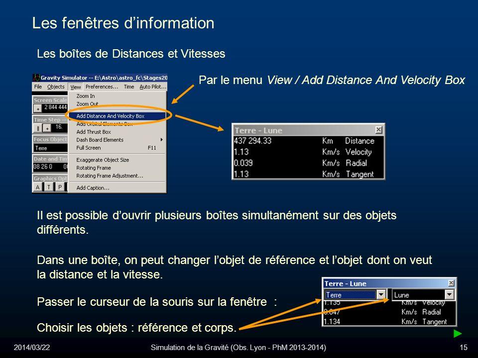 2014/03/22Simulation de la Gravité (Obs. Lyon - PhM 2013-2014)15 Les fenêtres dinformation Les boîtes de Distances et Vitesses Par le menu View / Add