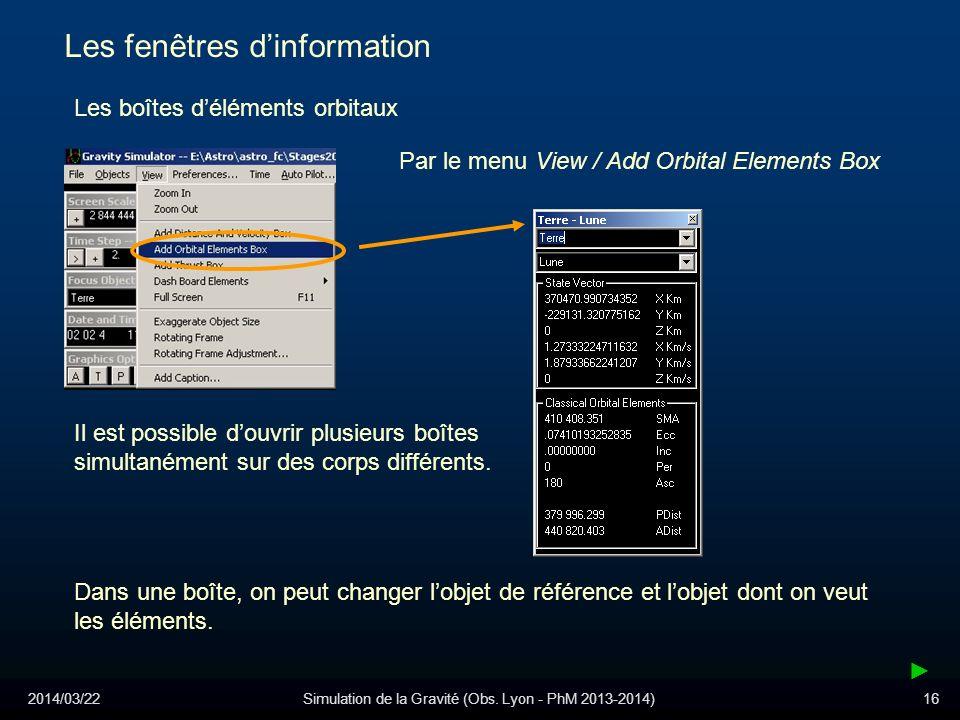 2014/03/22Simulation de la Gravité (Obs. Lyon - PhM 2013-2014)16 Les fenêtres dinformation Les boîtes déléments orbitaux Par le menu View / Add Orbita