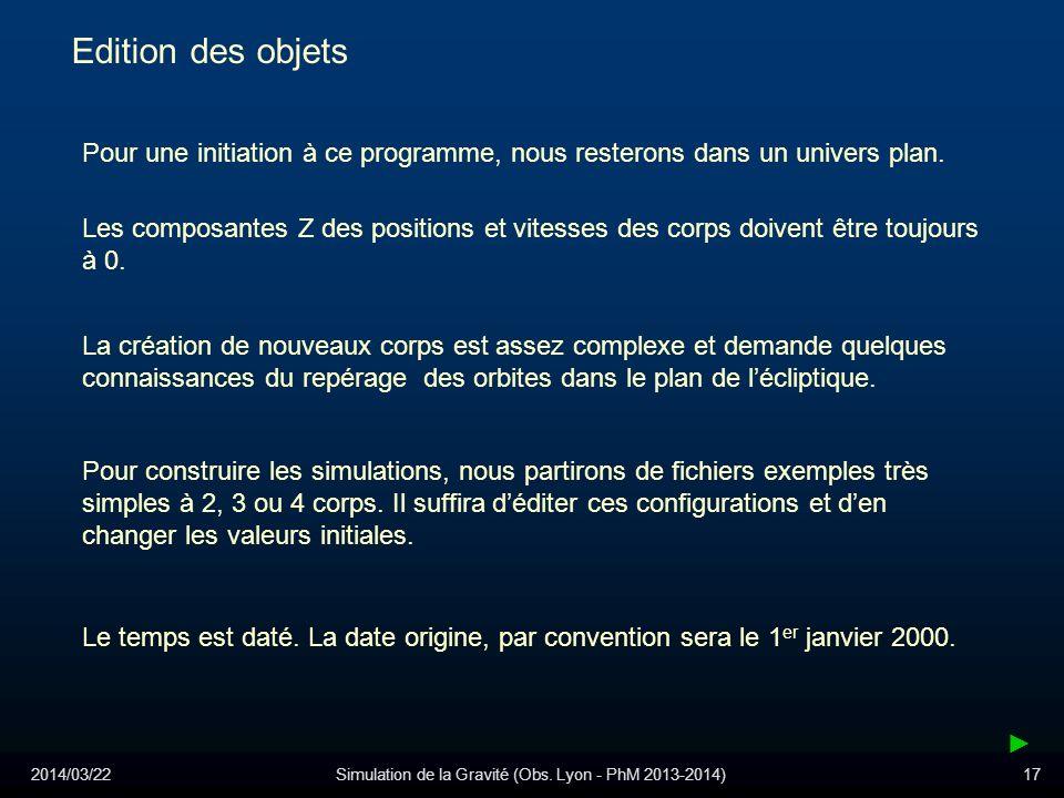 2014/03/22Simulation de la Gravité (Obs. Lyon - PhM 2013-2014)17 Edition des objets Pour une initiation à ce programme, nous resterons dans un univers