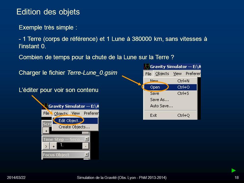 2014/03/22Simulation de la Gravité (Obs. Lyon - PhM 2013-2014)18 Edition des objets Exemple très simple : Combien de temps pour la chute de la Lune su
