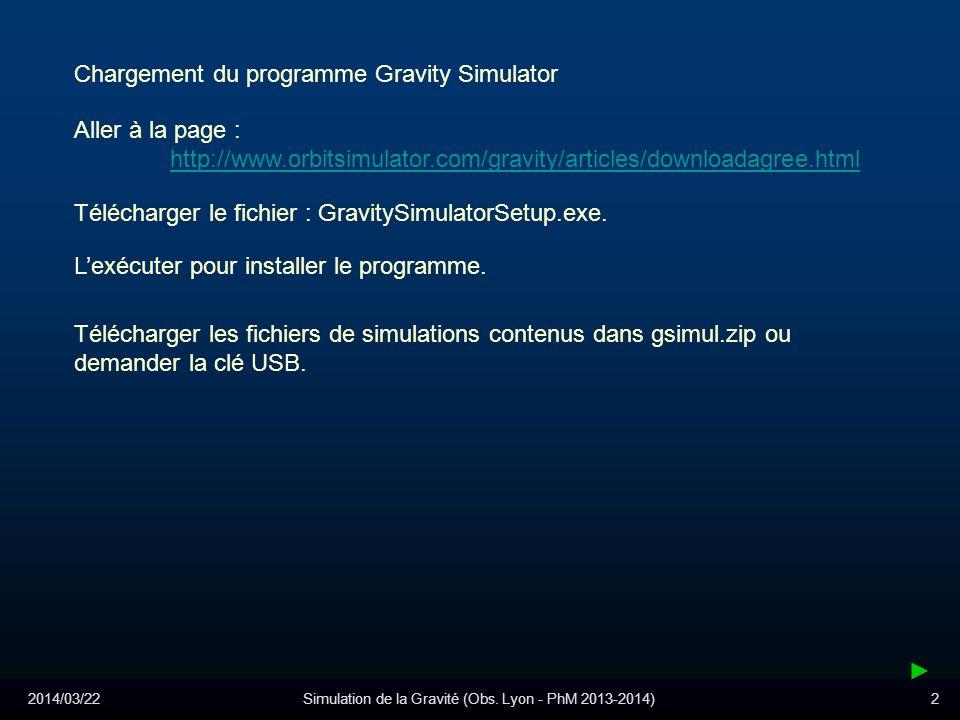 2014/03/22Simulation de la Gravité (Obs. Lyon - PhM 2013-2014)2 Chargement du programme Gravity Simulator Aller à la page : http://www.orbitsimulator.