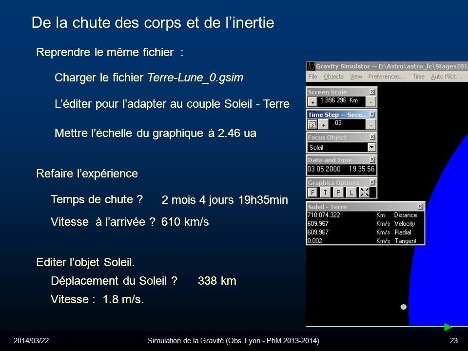 2014/03/22Simulation de la Gravité (Obs. Lyon - PhM 2013-2014)23 4j 17h37min De la chute des corps et de linertie Reprendre le même fichier : Léditer