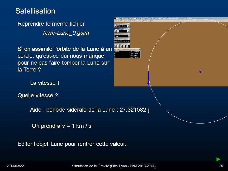 2014/03/22Simulation de la Gravité (Obs. Lyon - PhM 2013-2014)25 Satellisation Reprendre le même fichier Terre-Lune_0.gsim Si on assimile lorbite de l