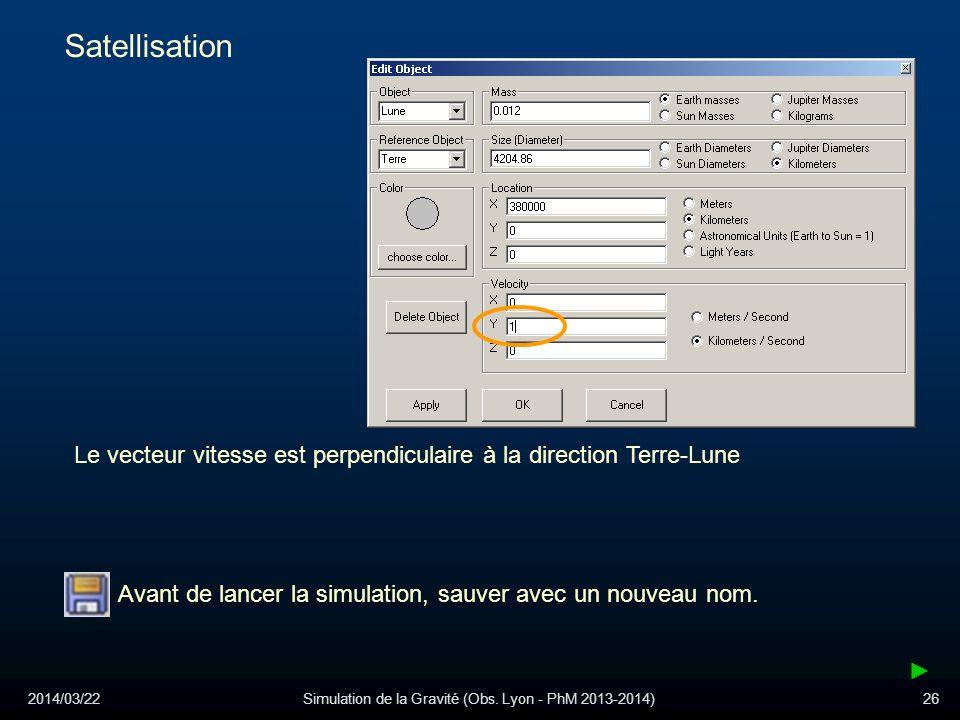 2014/03/22Simulation de la Gravité (Obs. Lyon - PhM 2013-2014)26 Satellisation Le vecteur vitesse est perpendiculaire à la direction Terre-Lune Avant