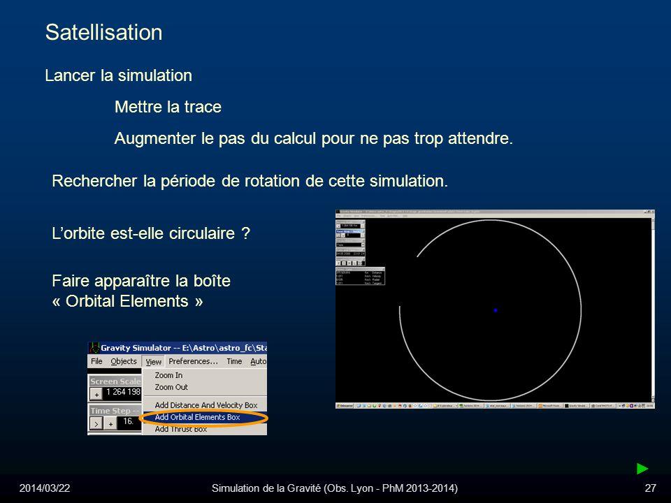 2014/03/22Simulation de la Gravité (Obs. Lyon - PhM 2013-2014)27 Satellisation Lancer la simulation Mettre la trace Augmenter le pas du calcul pour ne