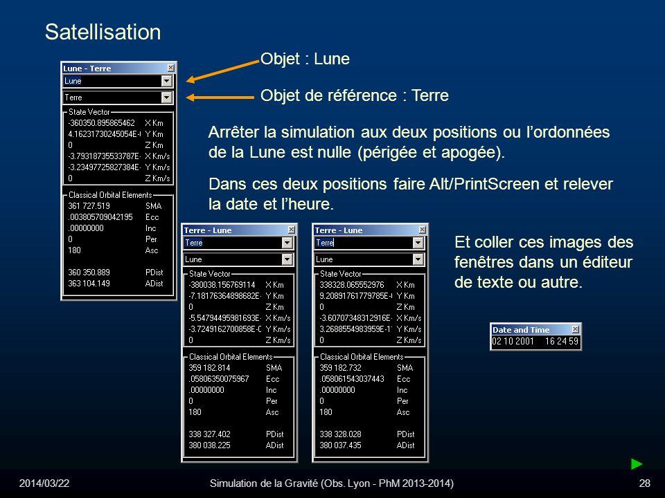 2014/03/22Simulation de la Gravité (Obs. Lyon - PhM 2013-2014)28 Satellisation Objet : Lune Objet de référence : Terre Arrêter la simulation aux deux