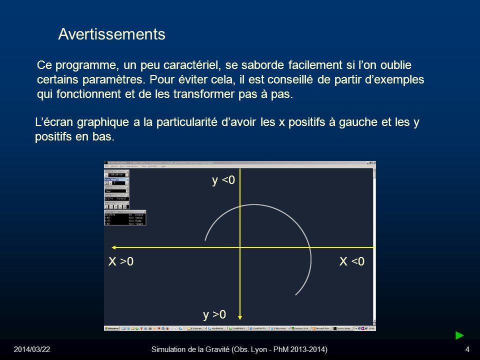 2014/03/22Simulation de la Gravité (Obs. Lyon - PhM 2013-2014)4 Ce programme, un peu caractériel, se saborde facilement si lon oublie certains paramèt