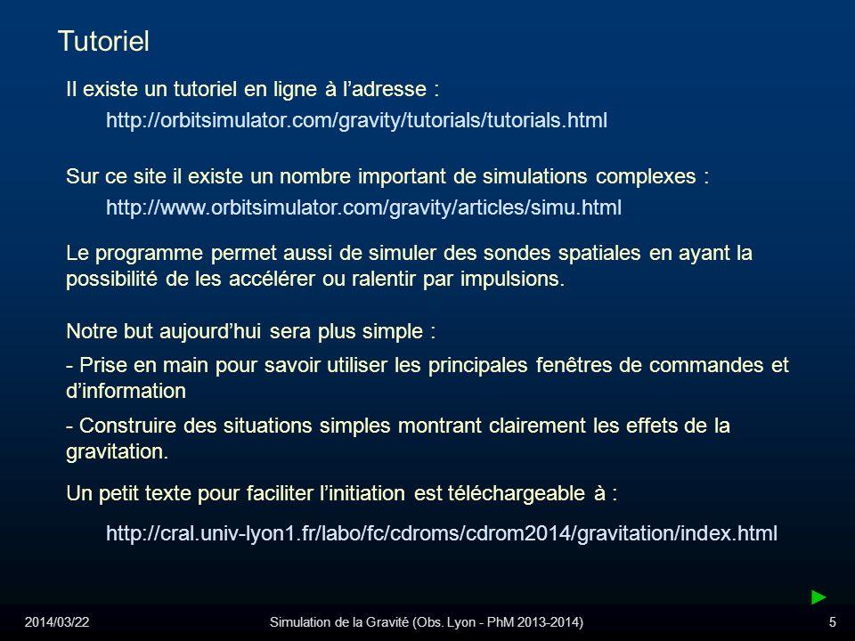 2014/03/22Simulation de la Gravité (Obs. Lyon - PhM 2013-2014)5 Tutoriel Il existe un tutoriel en ligne à ladresse : http://orbitsimulator.com/gravity