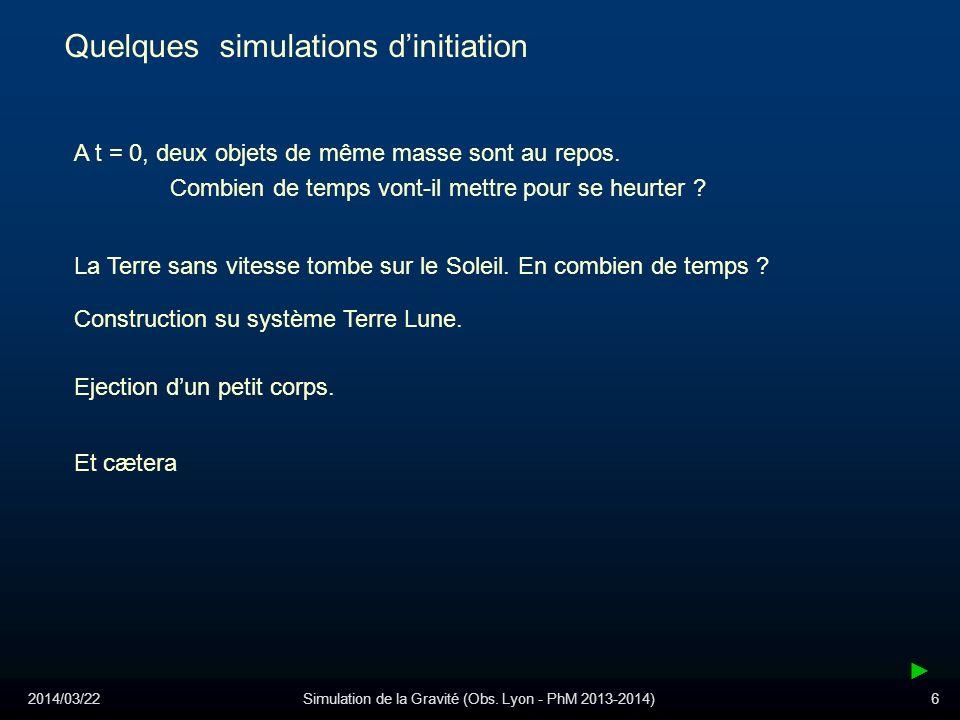 2014/03/22Simulation de la Gravité (Obs. Lyon - PhM 2013-2014)6 Quelques simulations dinitiation A t = 0, deux objets de même masse sont au repos. Com