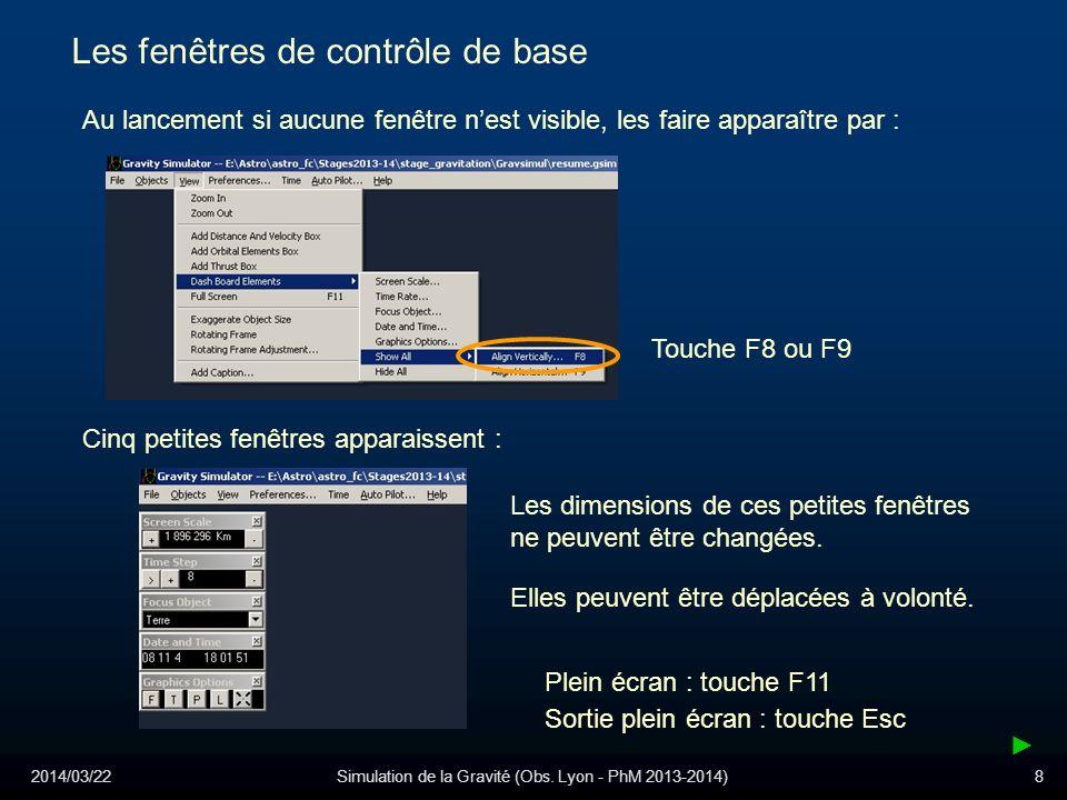 2014/03/22Simulation de la Gravité (Obs. Lyon - PhM 2013-2014)8 Les fenêtres de contrôle de base Au lancement si aucune fenêtre nest visible, les fair