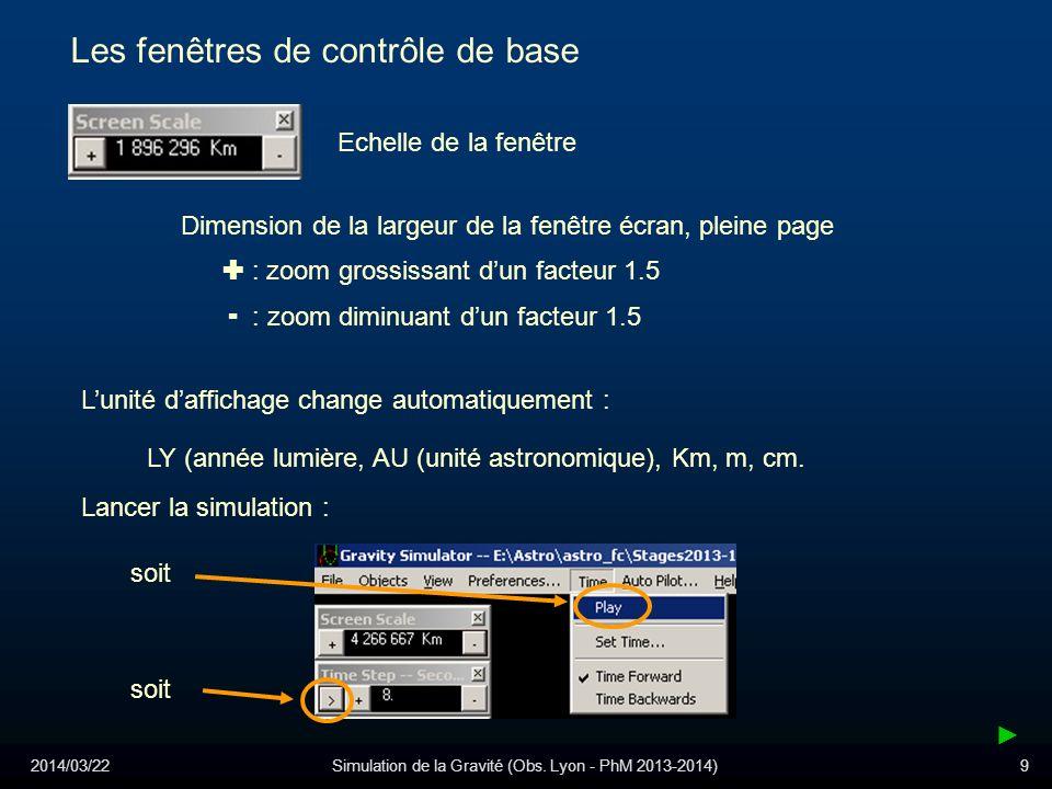 2014/03/22Simulation de la Gravité (Obs. Lyon - PhM 2013-2014)9 Les fenêtres de contrôle de base Echelle de la fenêtre : zoom grossissant dun facteur