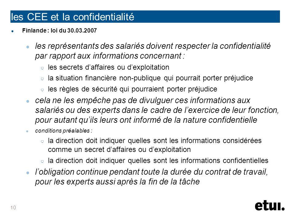 les CEE et la confidentialité Finlande : loi du 30.03.2007 les représentants des salariés doivent respecter la confidentialité par rapport aux informa