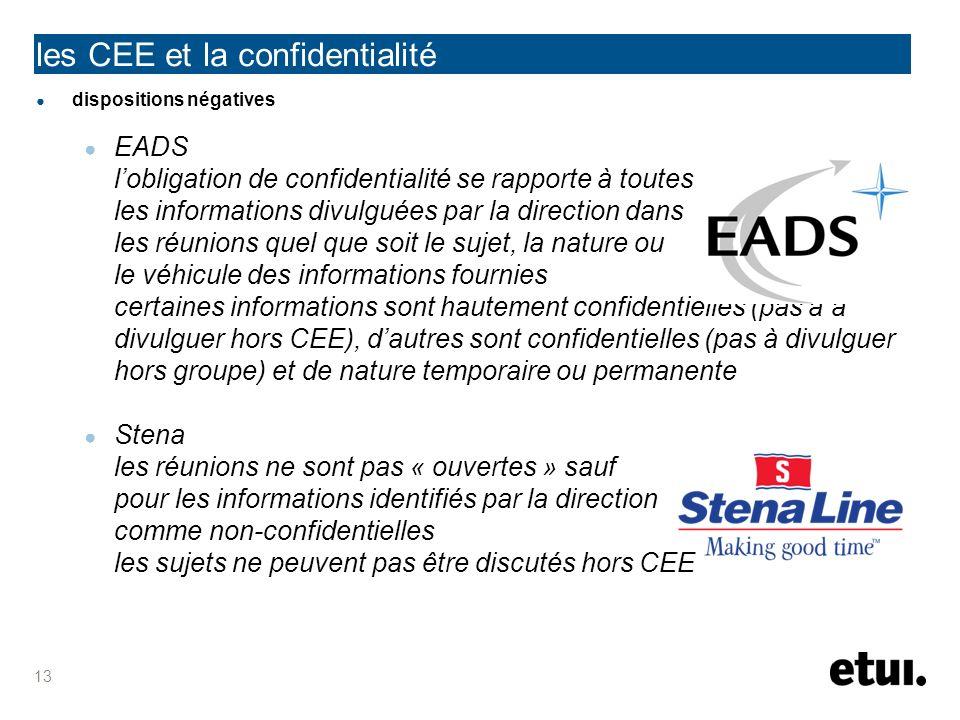dispositions négatives EADS lobligation de confidentialité se rapporte à toutes les informations divulguées par la direction dans les réunions quel qu