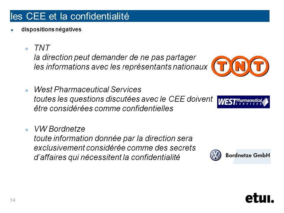 les CEE et la confidentialité dispositions négatives TNT la direction peut demander de ne pas partager les informations avec les représentants nationa