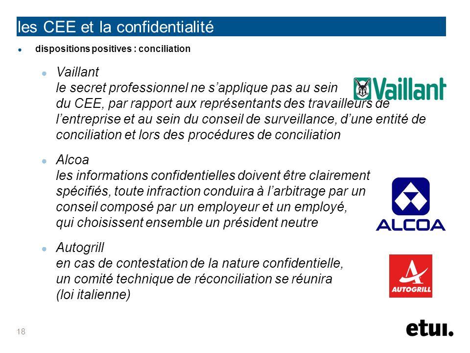 les CEE et la confidentialité dispositions positives : conciliation Vaillant le secret professionnel ne sapplique pas au sein du CEE, par rapport aux