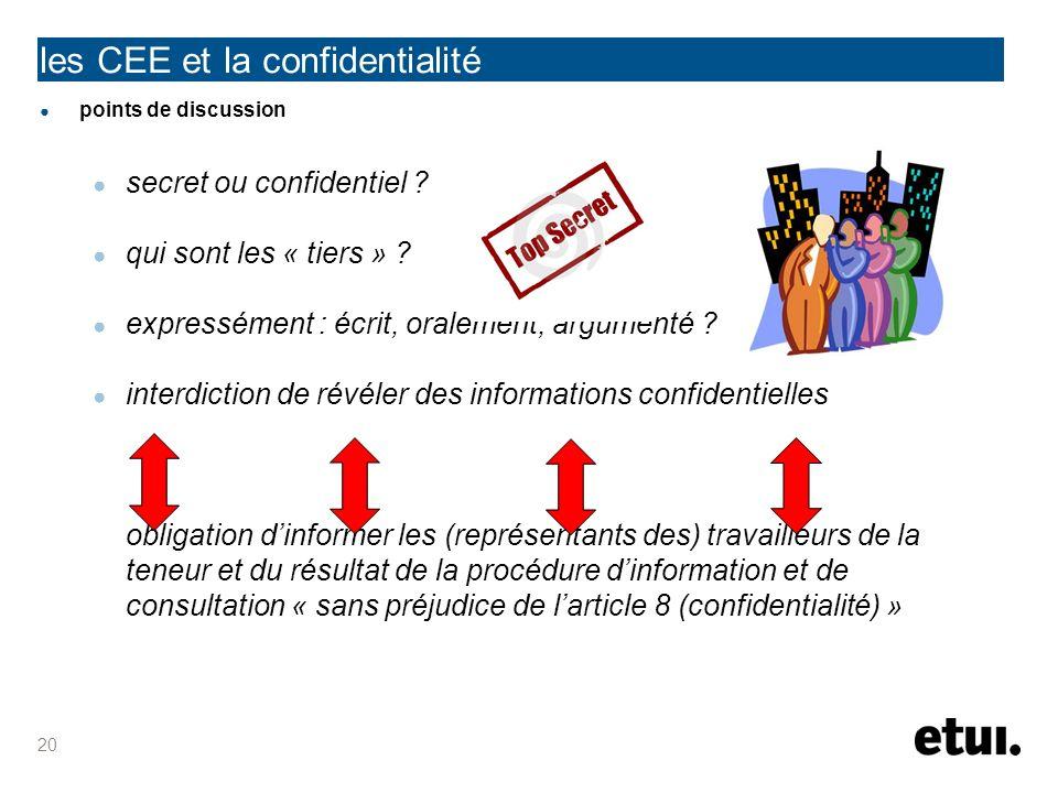 points de discussion secret ou confidentiel ? qui sont les « tiers » ? expressément : écrit, oralement, argumenté ? interdiction de révéler des inform
