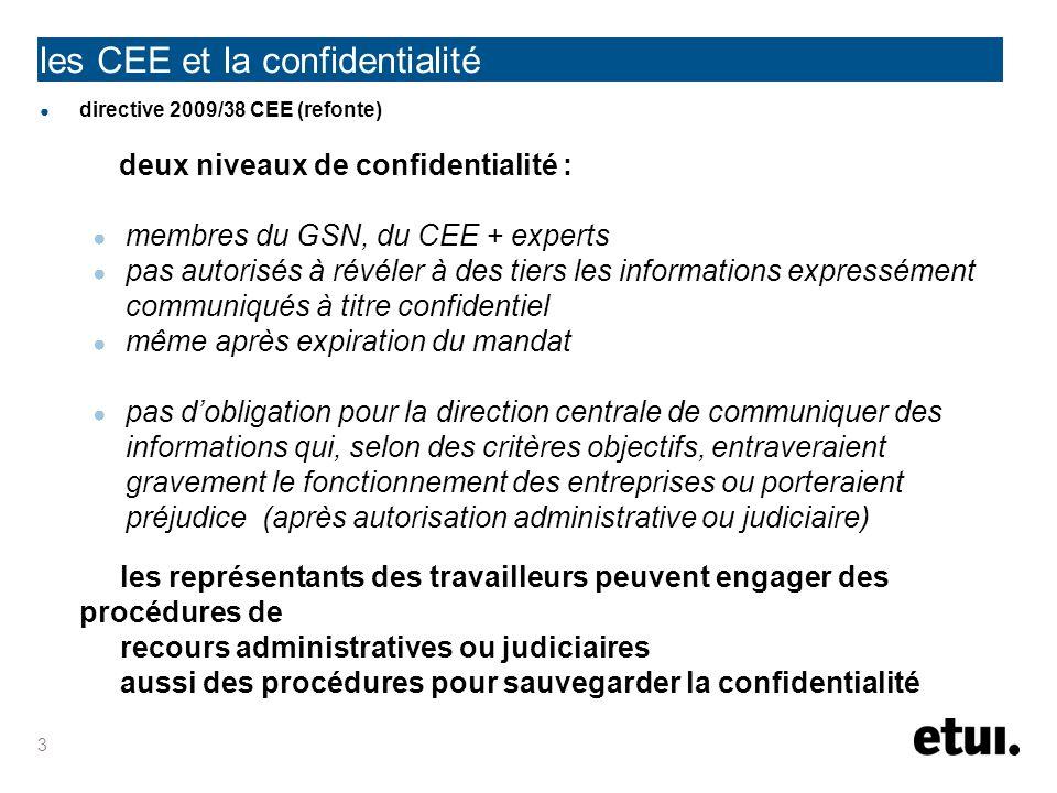 les CEE et la confidentialité directive 2001/86 sociétés européennes deux niveaux de confidentialité : membres du GSN, de lorgane de représentation + experts pas autorisés à révéler à des tiers les informations (-) communiqués à titre confidentiel même après expiration du mandat pas dobligation pour lorgane de surveillance ou dadministration de communiquer des informations qui, selon des critères objectifs, entraveraient gravement le fonctionnement des entreprises ou porteraient préjudice (après autorisation administrative ou judiciaire) les représentants des travailleurs peuvent engager des procédures de recours administratives ou judiciaires aussi des procédures pour sauvegarder la confidentialité 4