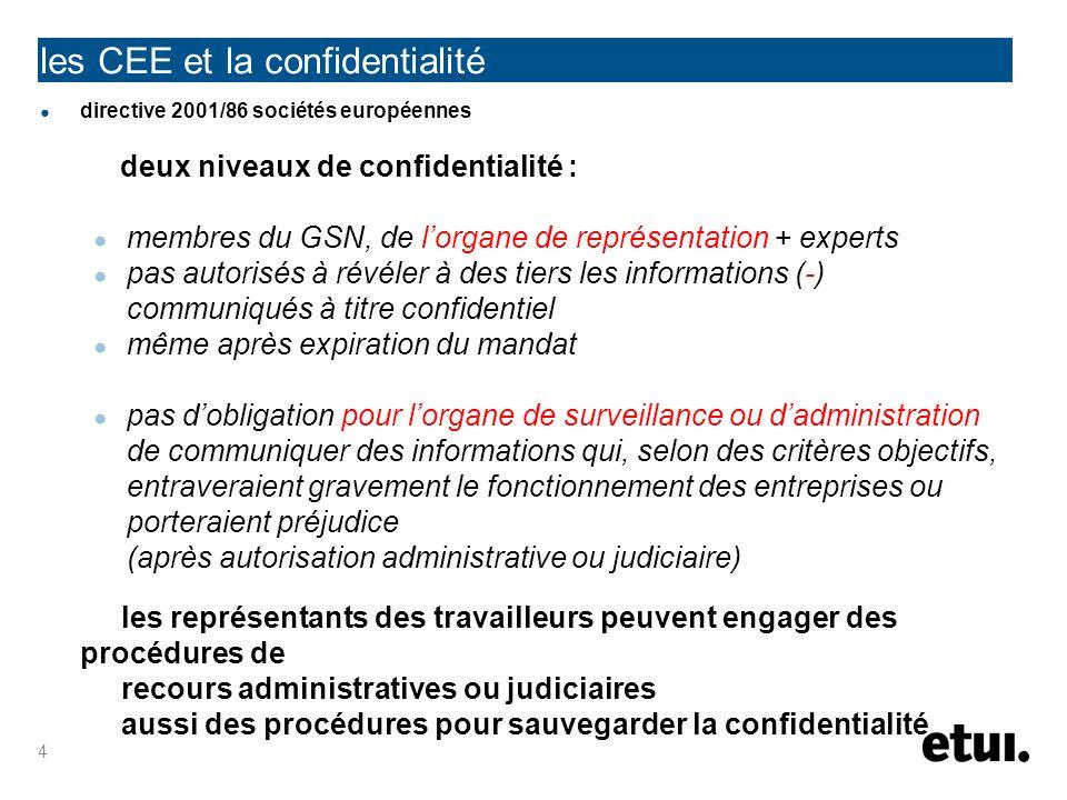les CEE et la confidentialité directive 2001/86 sociétés européennes deux niveaux de confidentialité : membres du GSN, de lorgane de représentation +