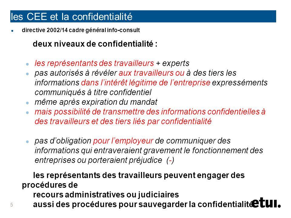les CEE et la confidentialité directive 2002/14 cadre général info-consult deux niveaux de confidentialité : les représentants des travailleurs + expe