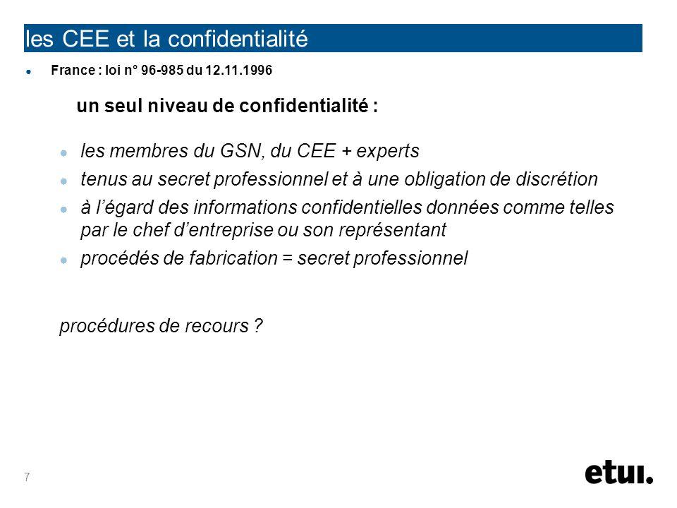 les CEE et la confidentialité France : loi n° 96-985 du 12.11.1996 un seul niveau de confidentialité : les membres du GSN, du CEE + experts tenus au s