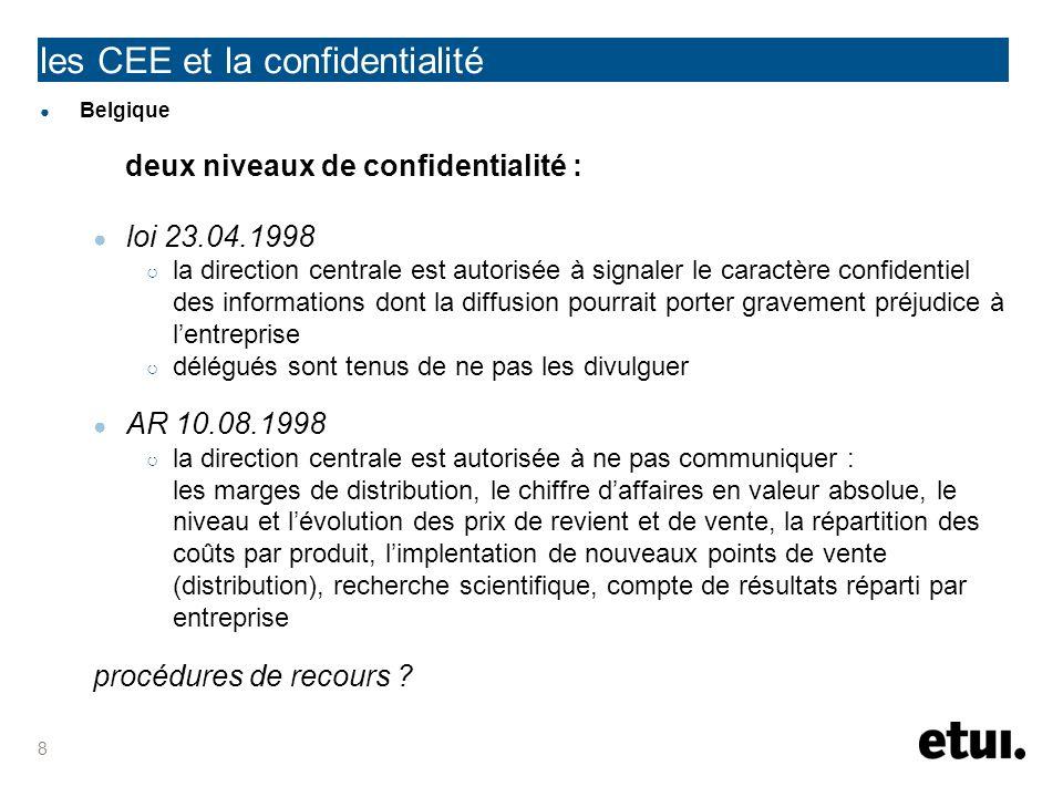 les CEE et la confidentialité Belgique deux niveaux de confidentialité : loi 23.04.1998 la direction centrale est autorisée à signaler le caractère co