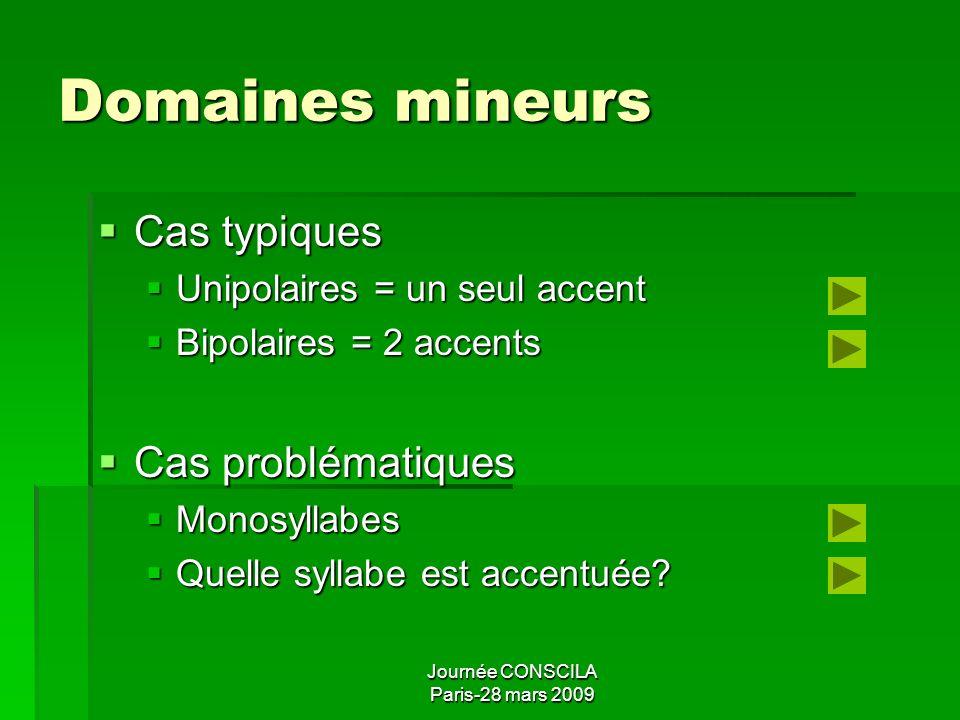Journée CONSCILA Paris-28 mars 2009 Domaines mineurs et majeurs Domaine mineur Domaine mineur Accent final obligatoire = mouvement tonal + allongement